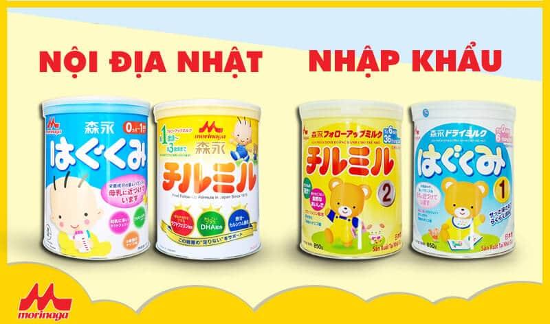 Sữa Morinaga nhập khẩu và nội địa Nhật