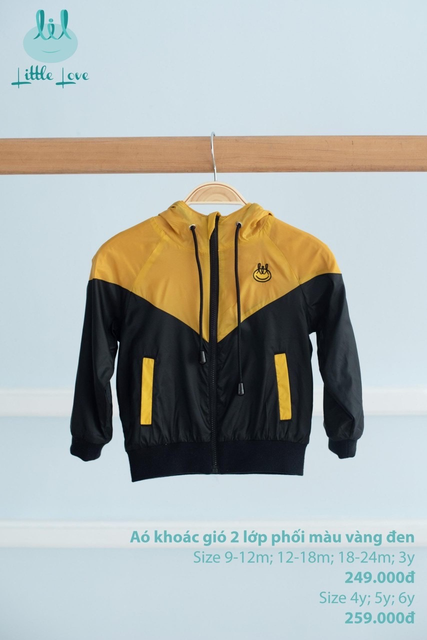 Áo khoác gió Little Love màu vàng đen