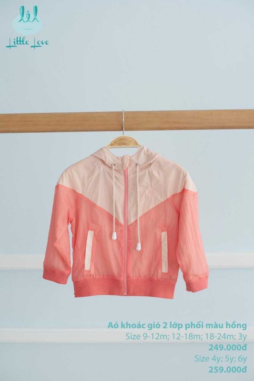Áo khoác gió Little Love màu hồng