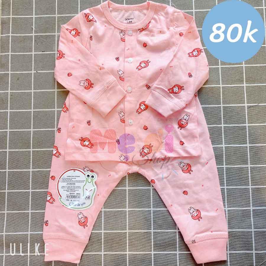 Quần áo Dokma sơ sinh bộ dài màu hồng